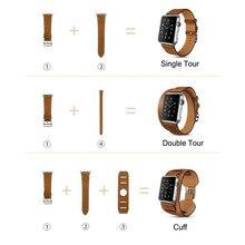 2016 Hombres y mujeres de 3 in1 Cuero Genuino Correa de reloj 38mm 42mm correa de reloj correas de Reloj para apple Original 1:1 Adaptadores metálicos