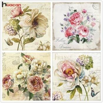 Huacn pintura de diamante flor 5D DIY flores con mosaico de diamante imagen de diamante de imitación peonía bordado de diamantes aguja para Artes