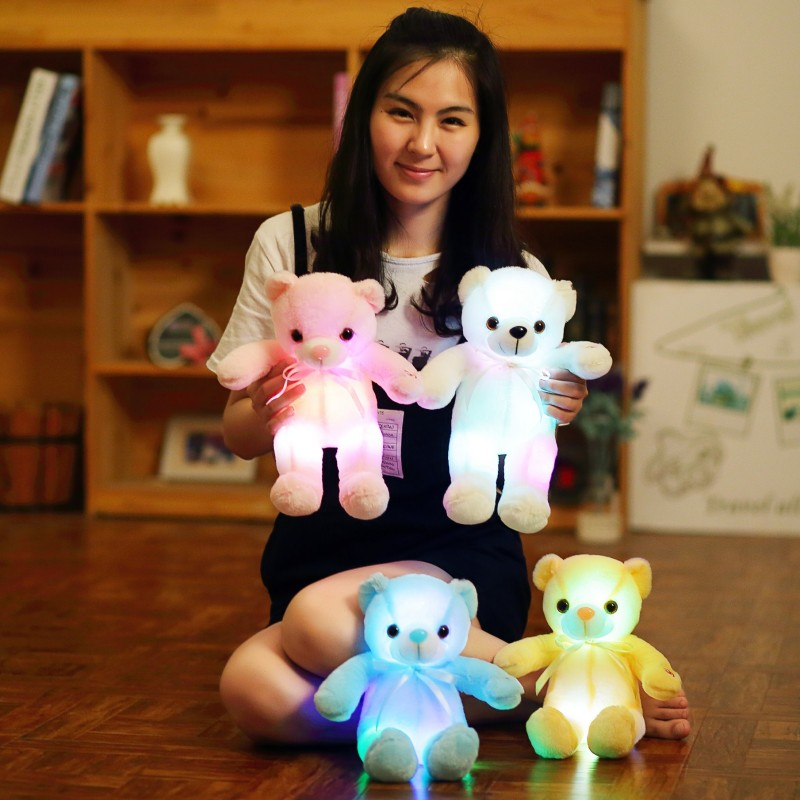 Newest 35cm Cute Creative Luminous Plush Toy bear Doll Glowing LED Light Animal Toys Colorful Pillow Childrens Lovely Gift