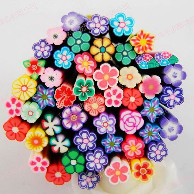 100pcsflowers Style Nail Art Canes Fimo 3d Nail Stickers