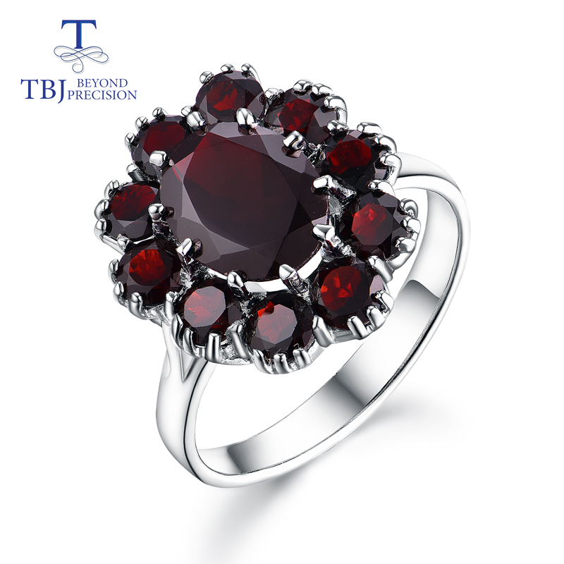 TBJ,925 sterling silver natural gemstone black garnet rings fine  jewelry for woman and girl anniversary