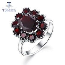 Tbj, 925 Sterling Zilver Natuurlijke Edelsteen Zwart Granaat Ringen Fijne Sieraden Voor Vrouw En Meisje Anniversary & Verjaardag Leuk Cadeau