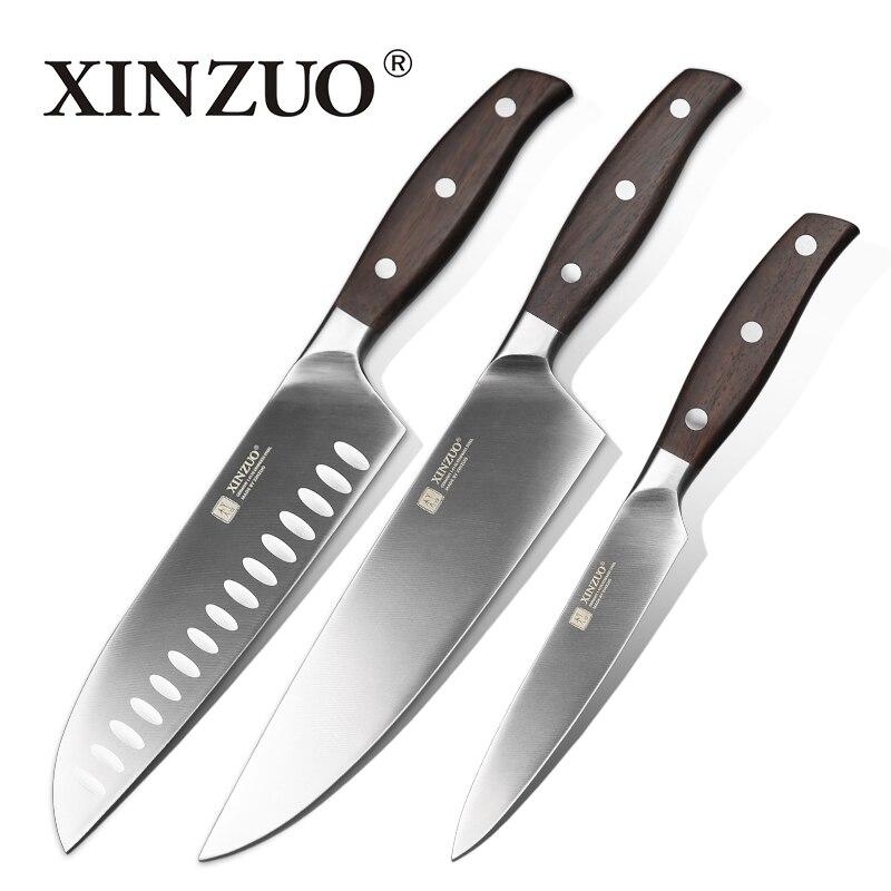 Xinzuo cozinha ferramenta 3 pçs faca de cozinha conjunto utilitário chef faca alemanha 1.4116 conjuntos de faca de cozinha em aço inoxidável rosewood lidar com
