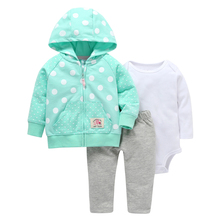 2019 Sale 100% Cotton For Bebes Baby Clothing Boy Girl Clothes Three-piece Normal Size Bodysuit & Pants Set Kids Cardigan Sets