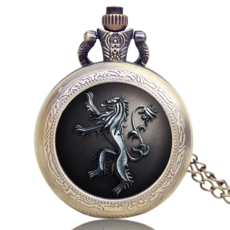Full Hunter Game Of Thrones Pocket Watch Lion House Lannister Necklace Quartz Bronze Cool Men Womens Gift old antique bronze doctor who theme quartz pendant pocket watch with chain necklace free shipping