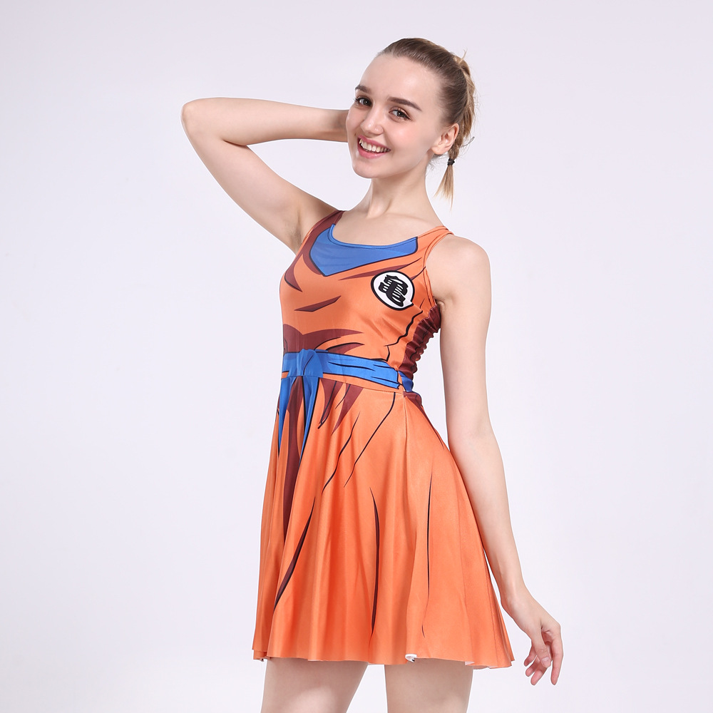 4f8a99347402 Sexy Girl Summer Dress Dragon Ball Son Goku Vegeta Reversible Sleeveless  Skater Women Pleated One-Piece Dress Plus size