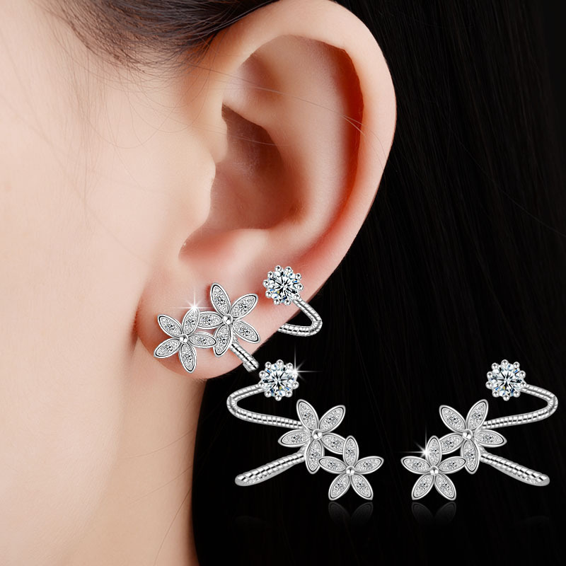 RUOYE Fashion Platinum Plated & Rose Gold Plated AAA Crystal Clip Earrings Flower Design Earring For Women Ear Clip Jewelry  золотые серьги по уху