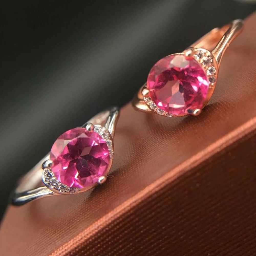 Shilovemเงินแท้925แหวนบุษราคัมธรรมชาติสีชมพูผู้หญิงเปิดอินเทรนด์2018ใหม่เครื่องประดับfine tfj070701agb