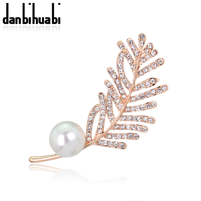 danbihuabi Trendy Rhinestones Big Pearl Plant Brooches for Women Clothes to Wear Jewelry Green Zinc Alloy Leaves Brooch
