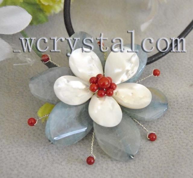 Luz azul louco ágata branco mar vermelho Coral colar de pingente