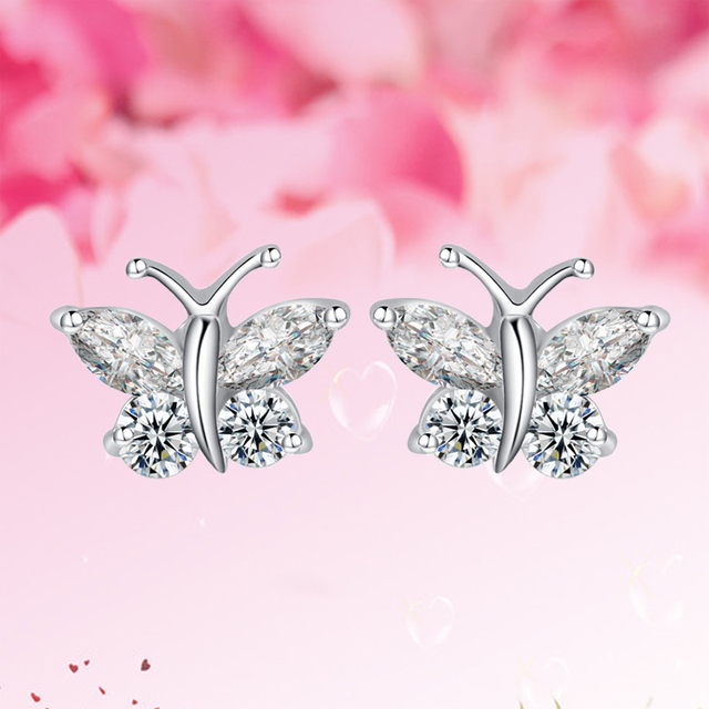 Cute Design Vivid Butterfly Earrings for Girl Prong Setting AAA CZ Crystal Stud Earrings White Gold Plated Jewelry Promotion