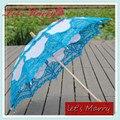 Vintage Light Blue Lace Embroidery Umbrella Cotton Battenburg Wedding Bridal Umbrella Parasol Umbrella Decoration Free Shipping