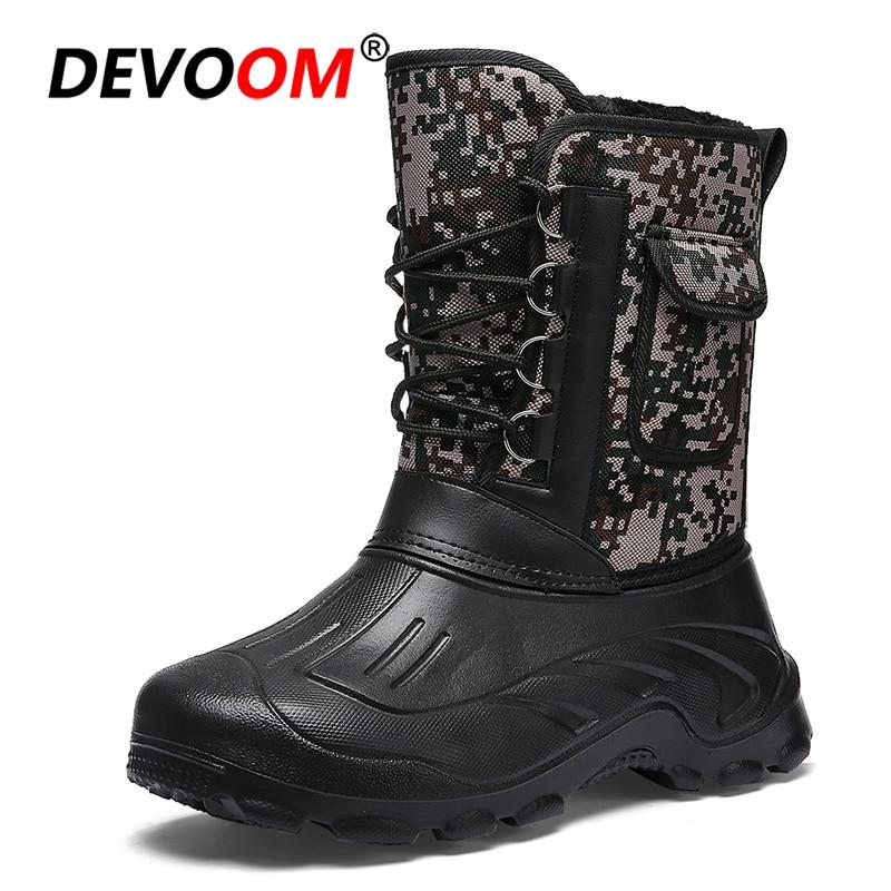 Mid Calf Winter Boots Men 2018 Fashion Snow Boots Men Waterproof Pack Boot New Design Deta