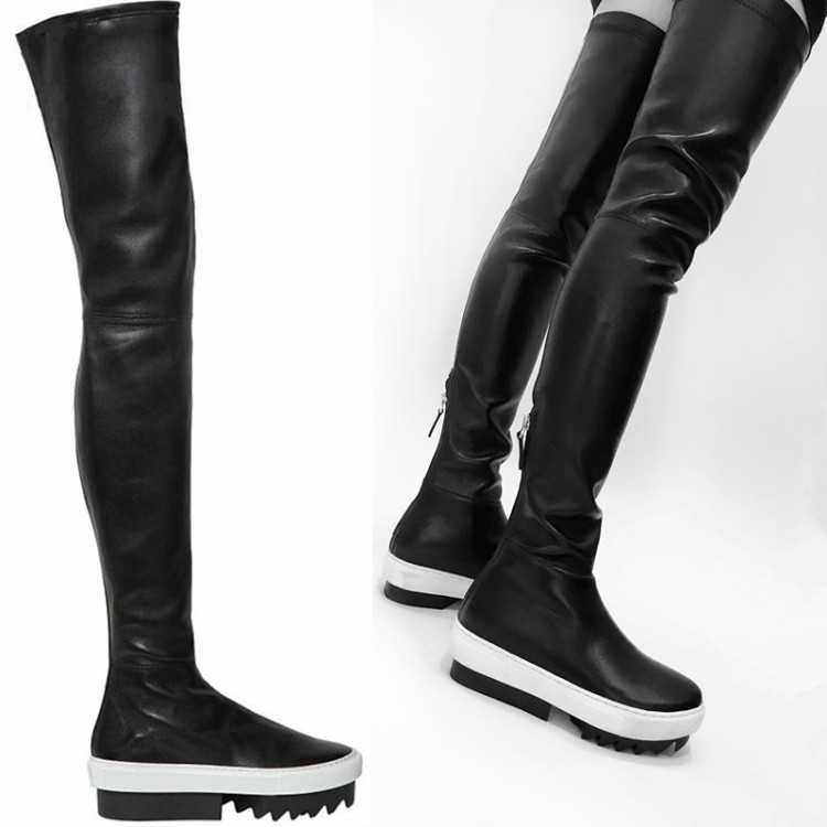 La Plat Noir mixed Sole Black White forme Sole Genou De Blanc Plate Longues black Cuisse Color Haute Stretch Sole Semelle Sur Le Caoutchouc Mode Bottes À En Élastique d7pxdUq
