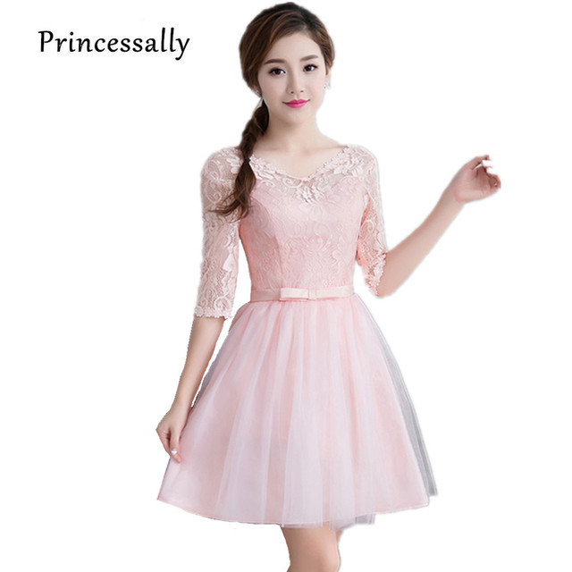 4c96fbd1ef3e0 Knee Length Pink Cheap Bridesmaid Dresses Lace Half Sleeve Short Wedding  Party Dress Purple Champagne Color Robe Soiree Mariage