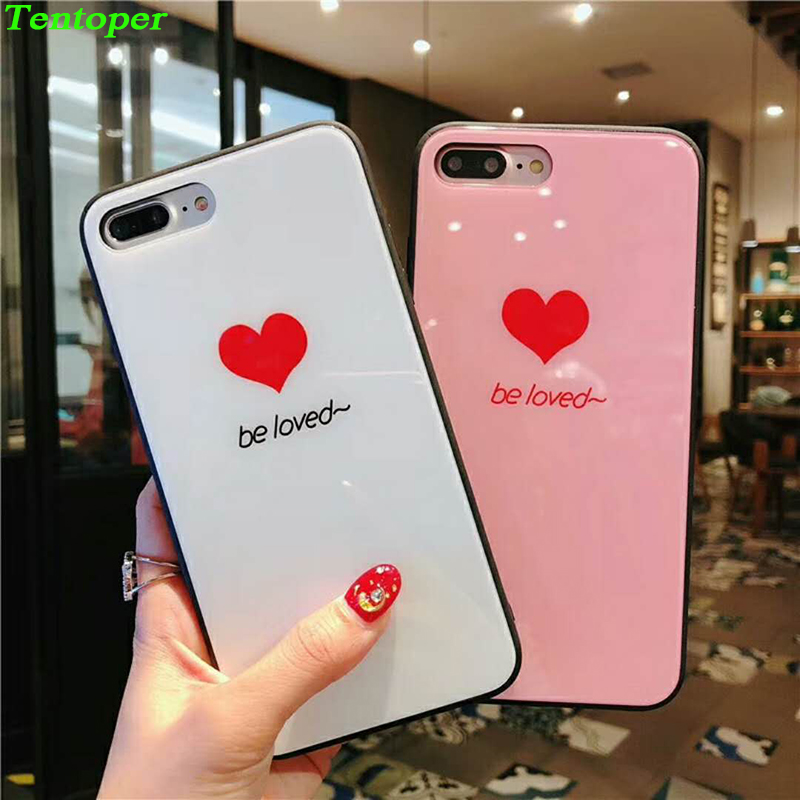 Tempered Glass Case For Apple iPhone X Cute Girly Hearts