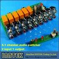 Собранный 5.1 канала аудио коммутатор 2 входа 1 выход доска, бесплатная доставка