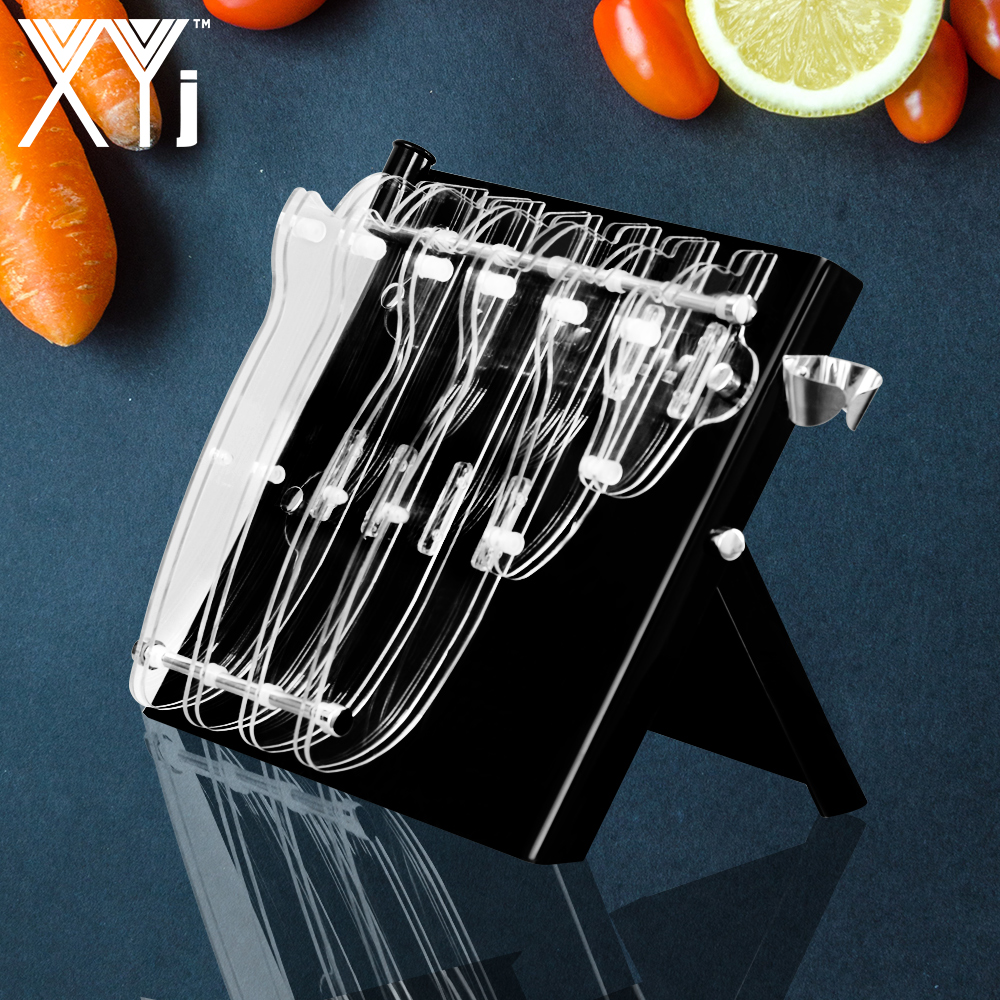 XYj Large Capacity Acrylic Knife Block Stand For Stainless Steel Knife & Ceramic Knife Holder Handmade Fashion Kitchen Tools