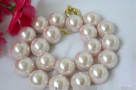 Livraison gratuite ******* chaude MEILLEUR grand 20mm ronde rose coquillage perle collier