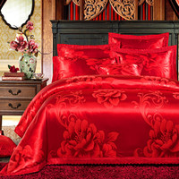 Cotton Silk Satin Pink Red Luxury Bedding set Queen King size Bed set Duvet/Quilt cover Bedsheet linen set funda nordica cama