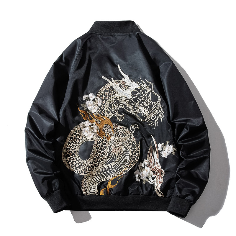 Men Baseball Jacket Embroidery Dragon Hip Hop Bomber Pilot Jacket Men Harajuku Japanese Retro Coat Fashion Streetwear Autumn