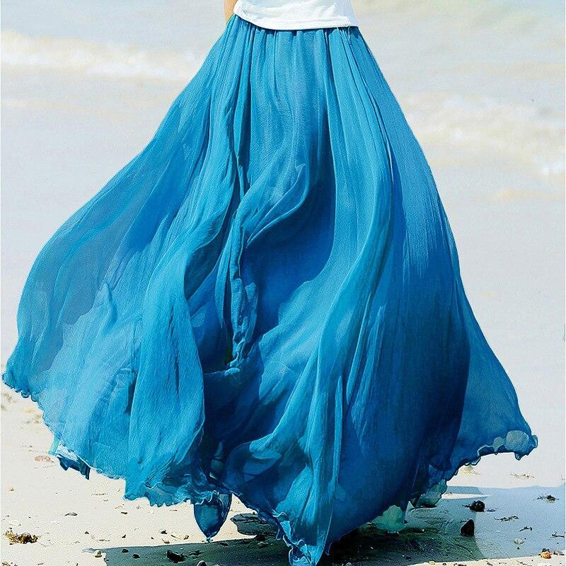 2019 High Waist Women Chiffon Long Skirts Women Beach Summer Boho Maxi Skirt Saia Longa Faldas Ruffles Hem Long Skirt Brand