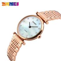 SKMEI 1223 New Women Quartz Wristwatches Luxury Stainless Steel Strap Fashion Lady Watch RoseGold Shell Casual