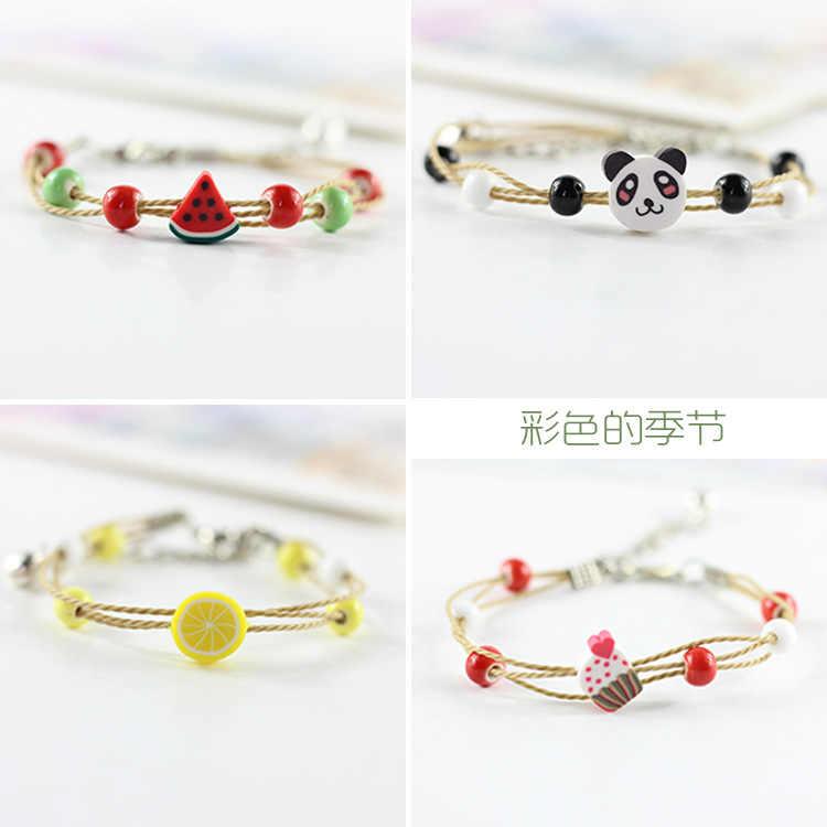 Lidavi Boho Vintage Bracelet à breloques cristal verre boule Bracelet à breloques femmes tisser multicouche Bracelet en cuir feuille de chance trèfle