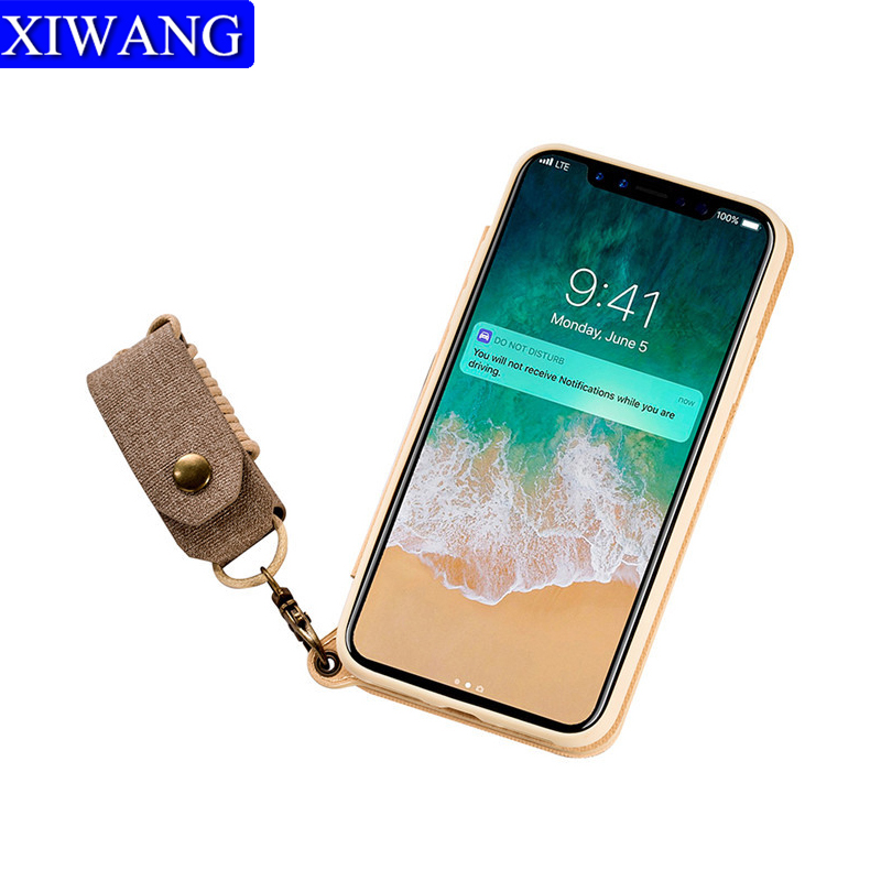 Wallet Flip Mobile phone case lanyard silicone mirror protective cover for apple iphone x 8 7 6 6s plus samsung galaxy s8 note 8