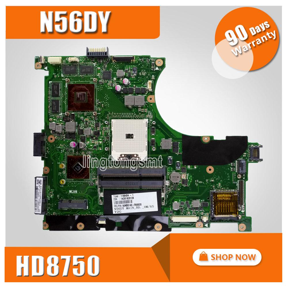 Original for ASUS N56DY Motherboard N56DY N56DP Rev 2.0 Graphic HD 8750M 60-NQOM1002- C03 100% Tested ipc floor pca 6114p10 rev b1 100% test