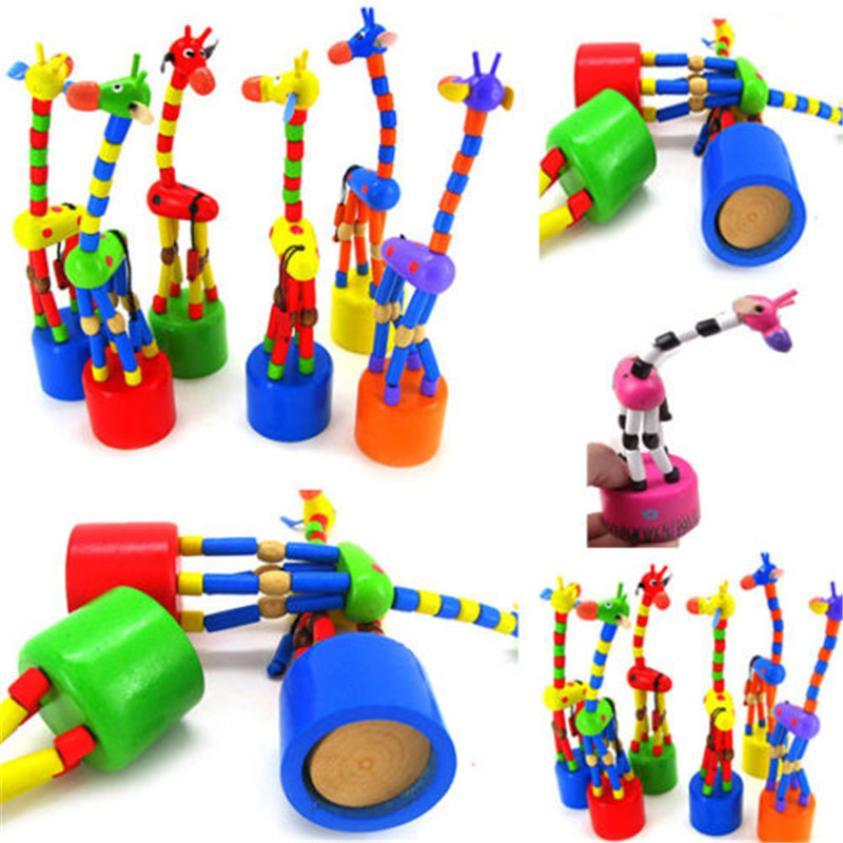 CHAMSGEND детские развивающие деревянные весенние игрушки для детей многоцветный танцы стоя качалки детские Жираф От 0 до 3 лет 17 января