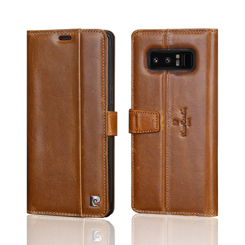 Pierre Cardin En Cuir Véritable Livre Magnétique Flip étui pour samsung Galaxy Note 8 Luxe Étui Portefeuille porte-carte Téléphone Funda