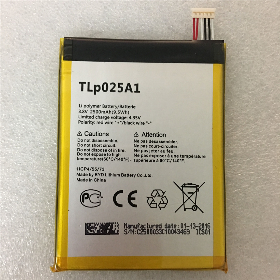 High Quality 2500Mah TLP025A1 TLP025A2 battery for <font><b>Alcatel</b></font> One Touch <font><b>7043K</b></font> 7043Y POP 2 (5) Smartphone image