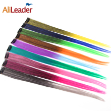 AliLeader Made Two Tone 20 Colors One Piece Clip On Hair Extensions 50CM Long Straight Ombre Synthetic Hair Hairpieces For Women