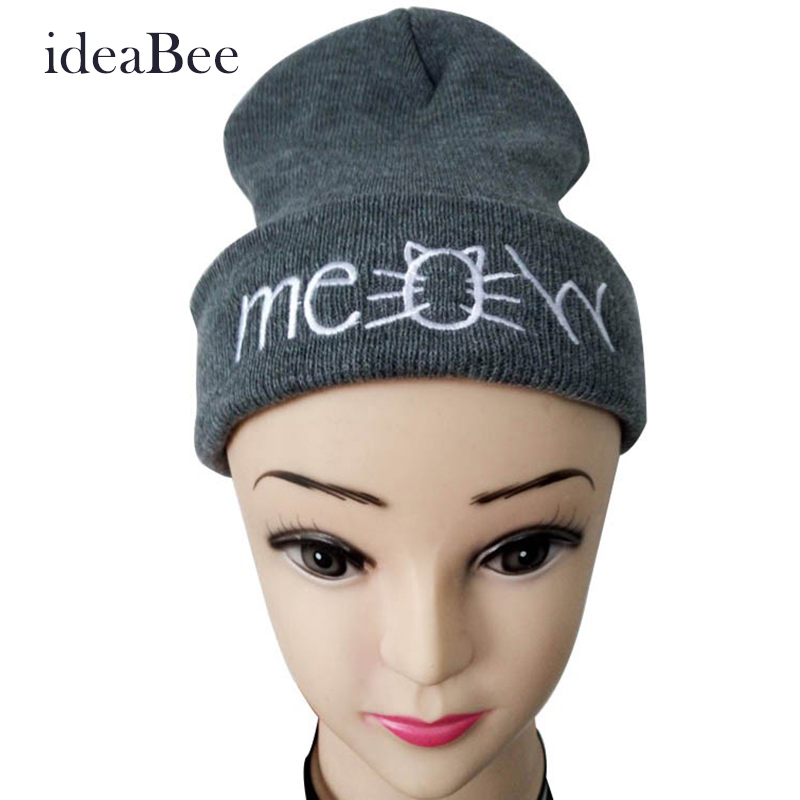 ideaBee New Hot Fashion MEOW Cap Men Casual Hip-Hop Hats Knitted Wool Skullies Beanie Hat Warm Winter Hat Women Free Shipping  недорого