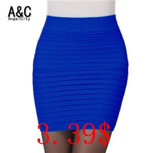 New-Fashion-2015-Office-Lady-Skirt-Summer-Women-High-Waist-Candy-Color-Elastic-Pleated-OL-Mini