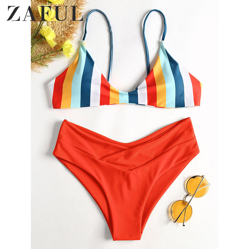 ZAFUL Bikini 2019 Strapless Striped Swimsuit High Cut Bikini Set Sexy Thong Bikini Swimwear New Padded Brazilian Bathing Suit|Bikini Set|   - AliExpress