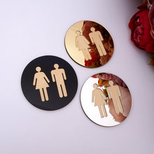 5mm 3D Acrylic Mirror Round Toilet Door Sign Men Women Bathroom WC Black Gold Silver Modern Wood Base Wall Sticker Home Decor(China)