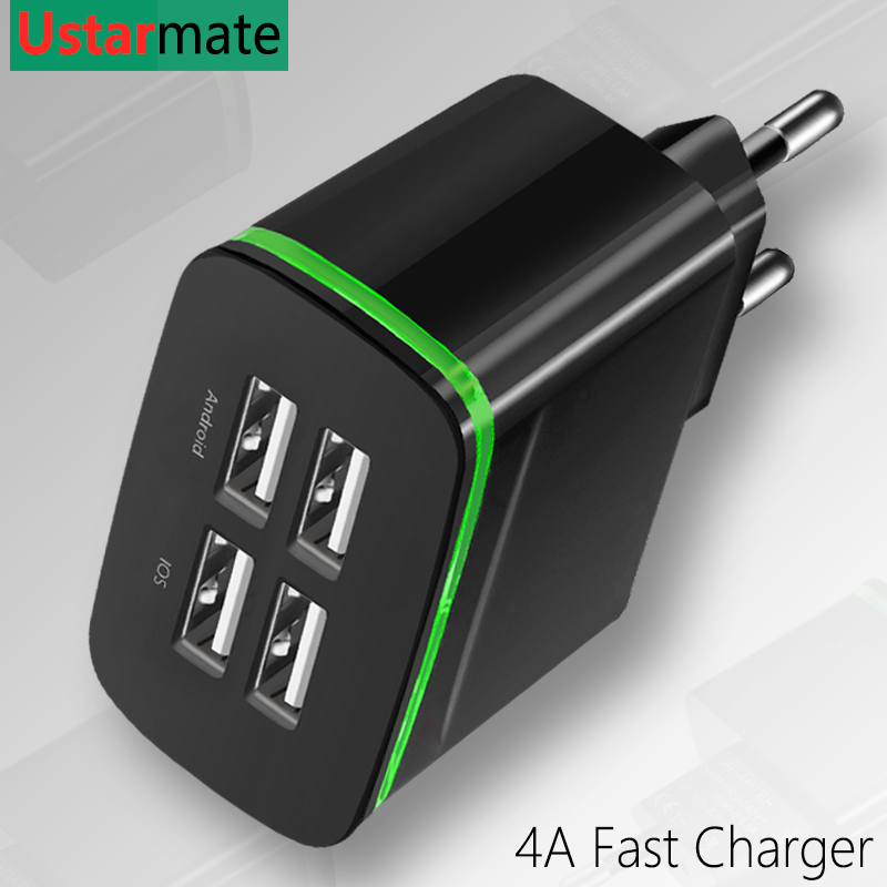 Wall-Charger Cable Eu-Plug iPad Android 4 Usb Samsung Type-C Travel for iPhone