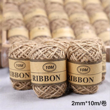 Omilut 10M Natural Burlap Hessian Jute Twine Cord Hemp Rope DIY Crafts Wedding Decoration Gift Packing Strings Supplies