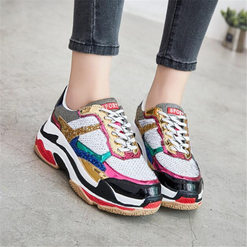 2018 Autumn Girl New Fashion Brand Shoes Women Glitter Sneakers Cross tied Sequins Lady Platform Shoes Bling Breathable