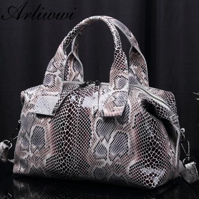 Arliwwi Brand Female Real Leather 2019 New Snake Image Embossed Handbags Elegant Serpentine Pattern Women's Genuine Leather bags