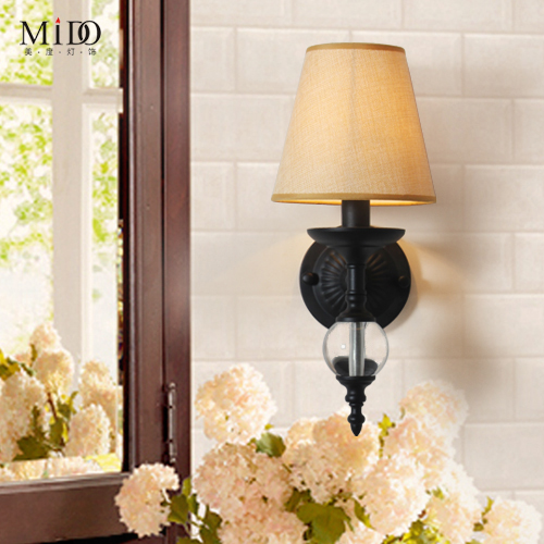 American country Nordic wall lamp NEW iron linen modern fashion wall room restaurant study aisle wall FG924 newly nordic wall lamp free shipping w43cm 2l american country style nordic fabric shades vintage aisle bird design wall lamp
