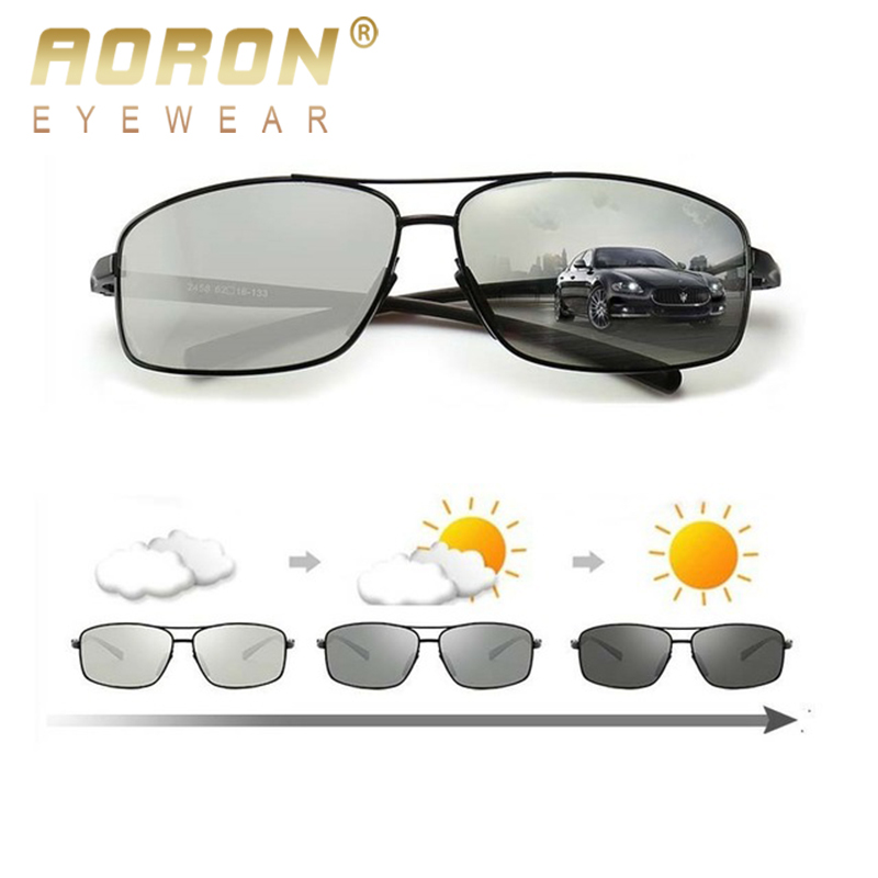 AORON Terpolarisasi Photochromic Sunglasses Pria UV400 Driving Transition Lens Sunglasses