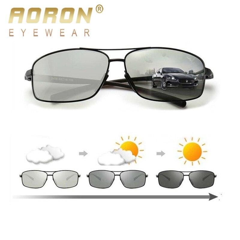 51c0e8ed14 AORON polarizado fotocromáticos gafas de sol hombres es UV400 conducción  transición lente gafas de sol