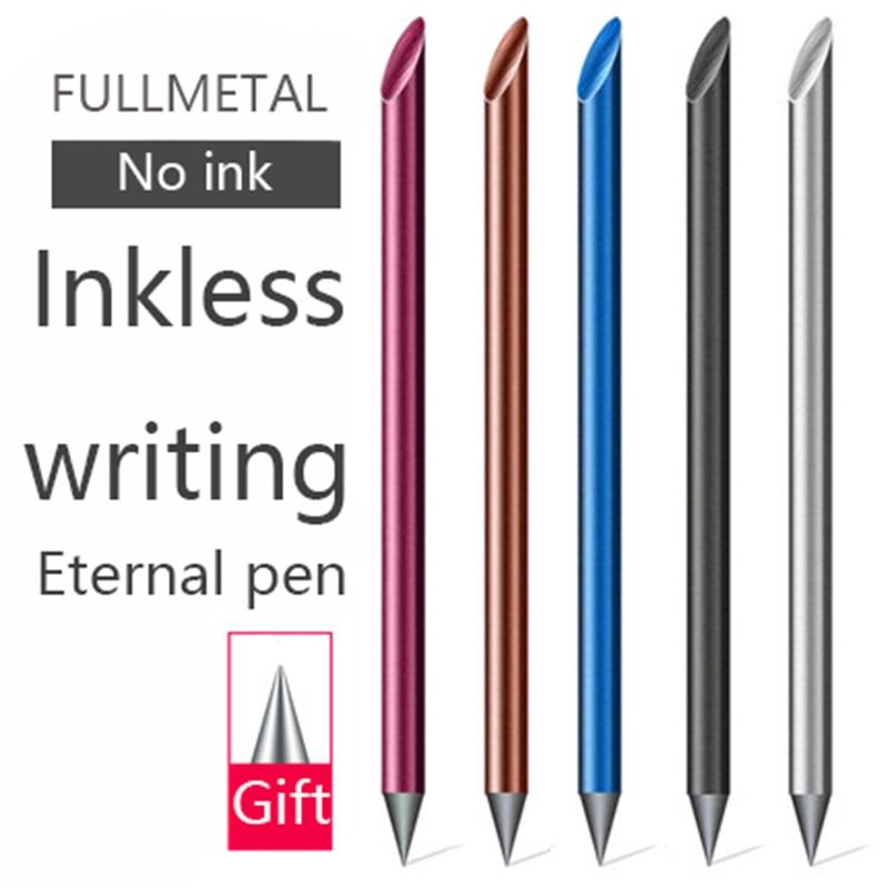Novelty Cool Undead Full Metal Fountain Pen Luxury Eternal Gift Box Inkless Beta Pens Writing Stationery Office School