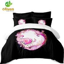 Ladies Princess Bedding Set Pink Mermaid Print Duvet Cover Girls Cartoon Bed Linen Flat Sheet Pillowcase 4pcs D15