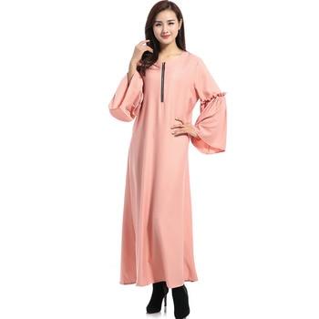 2019 Casual Elegant Dress Batwing Sleeve Women Zipper Islamic Pakistan Abaya Dubai Clothing Muslim Party Long Robe Dresses Dubai