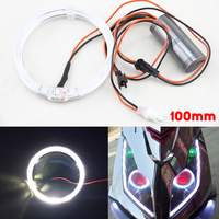2X 100MM 3 94 White Color Guided LED Angel Eyes Light For Cars Motors Cree