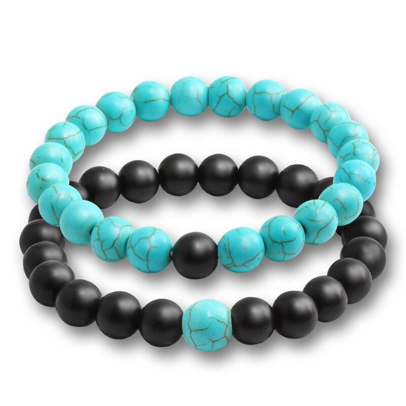 2 Pcs/set Fashion Couple Tiger Eye Stone Bracelets Bangles Classic Black White Natural Lava Stones Charm Bead Bracelet Women Men 2